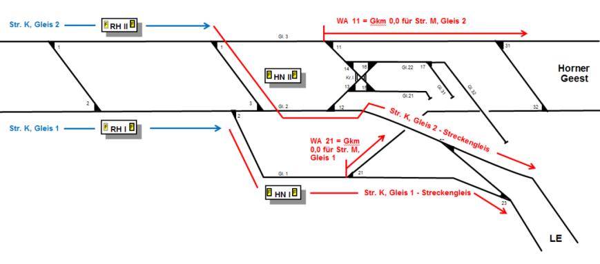 Gleisplan der umgebauten Haltestelle Horner Rennbahn - Grafik: HOCHBAHN