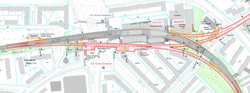 Lageplan umgebaute Haltestelle Horner Rennbahn- Grafik: HOCHBAHN / Obermeyer Planen + Beraten