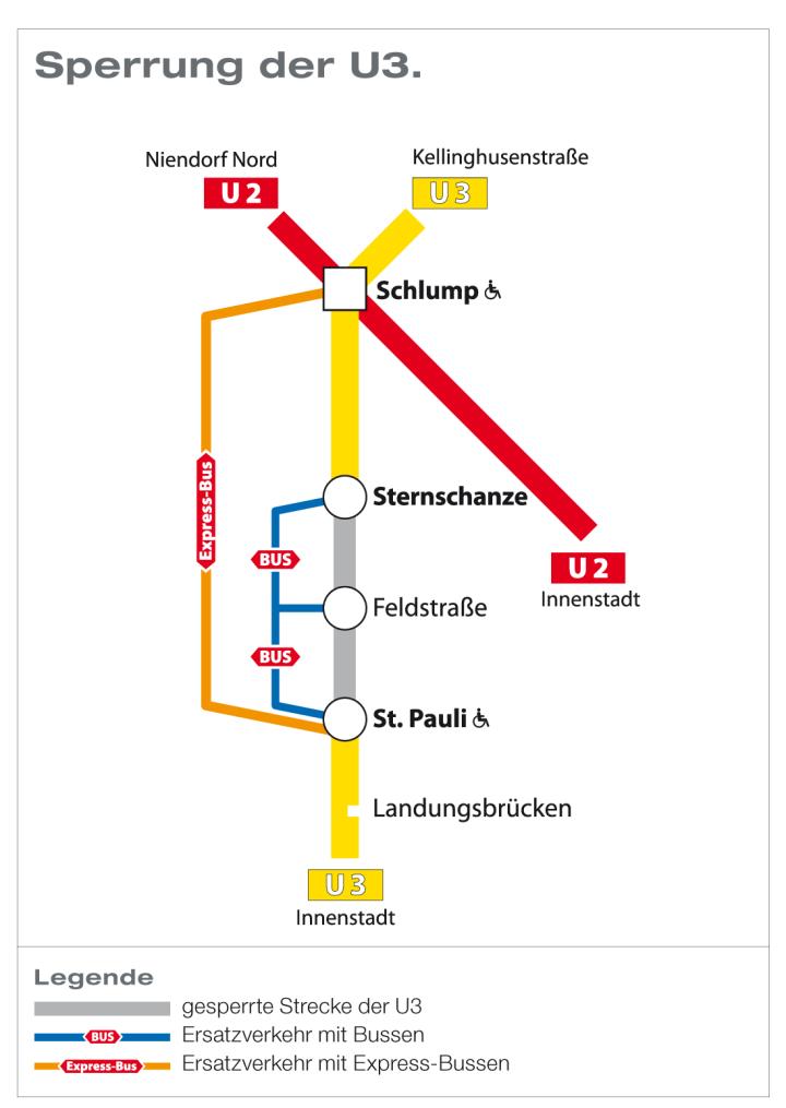 Sperrung U3 St. Pauli - Sternschanze