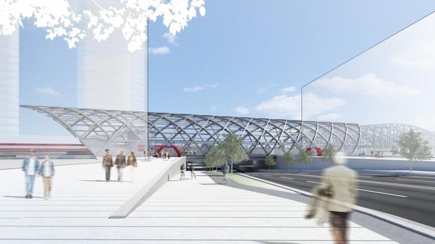 Blick auf die Haltestelle von der Westseite. • (C) Visualisierung: gmp Architekten