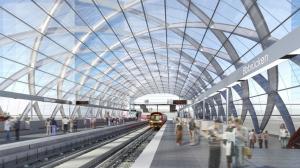 Die Haltestelle Elbbrücken von innen. Blick wahrscheinlich in Richtung Norden (HafenCity Universität). • (C) Visualisierung: gmp Architekten