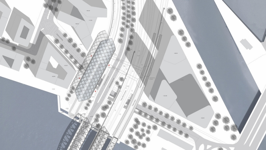 Das ganze von oben: Lage der Haltestelle Elbbrücken. • (C) Visualisierung: gmp Architekten