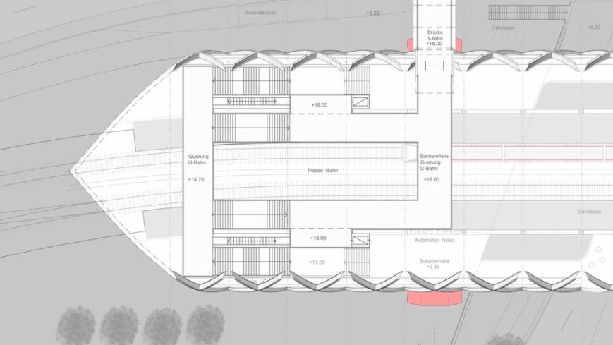 """Plan des nördlichen Endes der Haltestelle Elbbrücken. Zu sehen sind zwei Überführungen über die Gleise, der """"Skywalk"""" zur S3/S31-Haltestelle Elbbrücken und die beiden Aufzüge. • (C) Visualisierung: gmp Architekten"""
