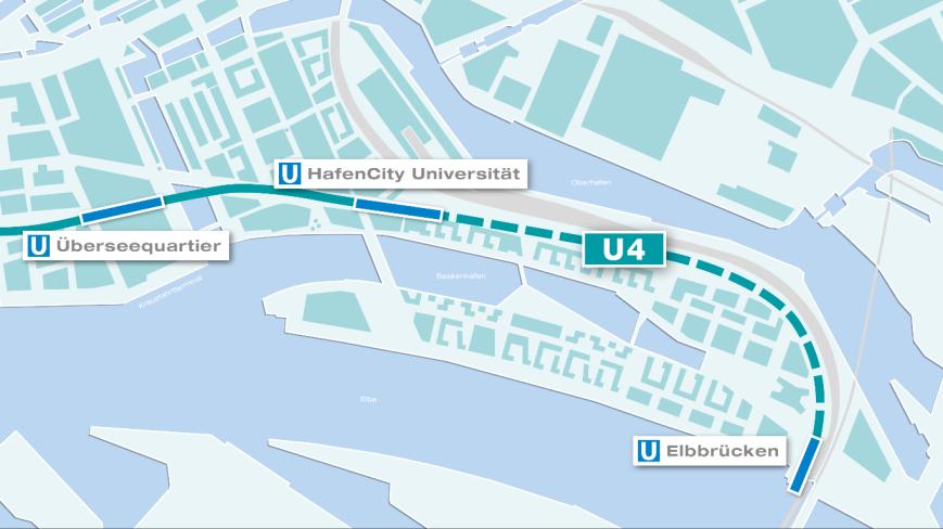 U4 in der HafenCity: Grafische Darstellung des Linienverlaufes. (C) HOCHBAHN