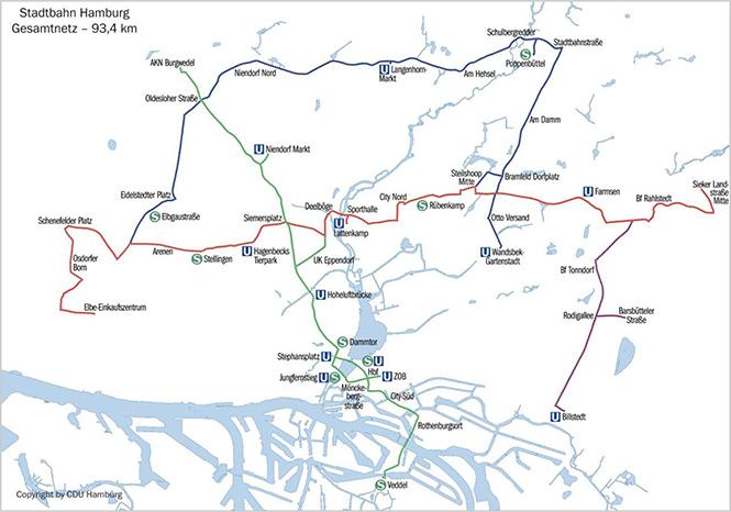 Auf dieser Karte sind die vier geplanten Linien zu erkennen. (C) 2014 CDU.