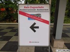 Schon am Freitag standen die Schilder für den bevorstehenden Ersatzverkehr.