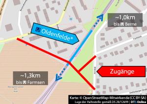 Hier soll die Haltestelle Oldenfelde (Arbeitstitel) entstehen. - © Kartendaten: OpenStreetMap-Mitwirkende (CC BY-SA) // Lage der Haltestelle gemäß DS 20/12699