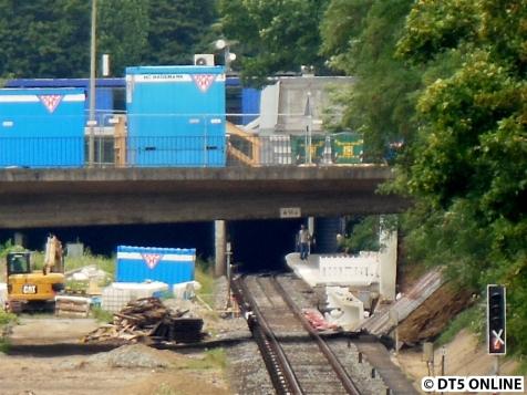 Die Baustelle von der Schiffbeker Brücke aus gesehen