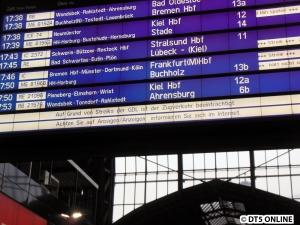 DB-Abfahrtstafel in HHS, Streik 15.10.2014