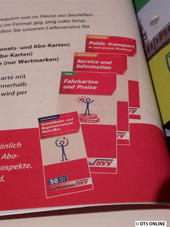 Die HVV-Broschüren werden dieses Jahr in einem Strichmännchen-Design veröffentlicht. Auch ein Hinweis auf das 50. Jubiläum des HVV wird aufgrdruckt.