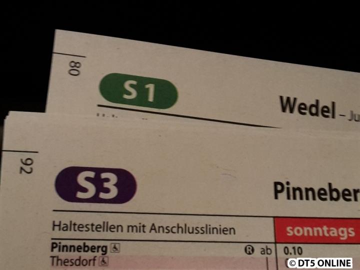 Bei den Linien hat man sich etwas vergriffen, die S3 hat beispielsweise die Schriftart der Buslinien erhalten, während die S1 die Standardnummern bekommt.