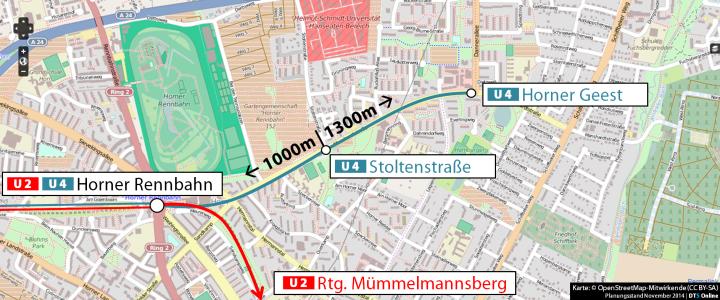 Wahrscheinlich wird die U4 hinter Horner Rennbahn ausgefädelt und folgt dnan der Manshardtstraße. In Höhe der Stoltenstraße ensteht eine Haltestelle, ebenso wie an der Dannerallee Höhe des EKZ. Permalink zum Kartenausschnitt bei OSM ((C) Open Street Map-Mitwirkende)
