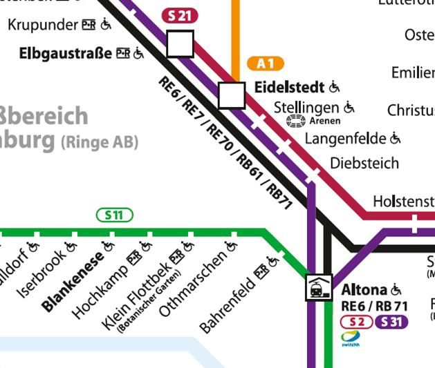 Die neuen Regionalbahnnummern werden neben der Linie zu sehen sein. (Außer auf der Stammstrecke bei Dammtor, dort auf der Linie mangels ausreichendem Platz). Auch besitzen die RE/RB-Nummern kein HVV-Typisches Symbol sondern sind nur noch Nummern. Am Bahnhof Altona wird nun der Switchh-Punkt angehängt.