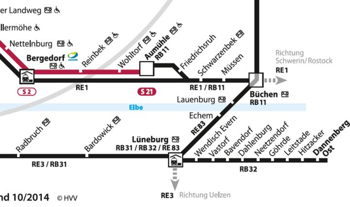 Darüber hinaus wurde die Linienführung der Regionalbahnen bei Aumühle berücksichtigt, sodass klar wird, dass nur die RB, nicht der RE dort hält. Unten an der RB32 wurde das HVV-Gebiet bis Dannenberg erweitert, jedoch nur auf der Schiene. Das ist die erste Ausweitung seit mehreren Jahren.