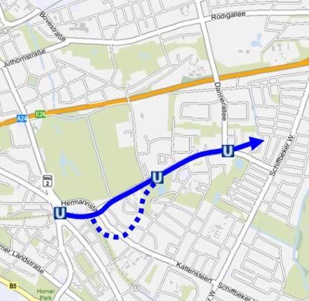 Lage der U4-Verlängerung in die Horner Geest. (C) Karte: BWVI