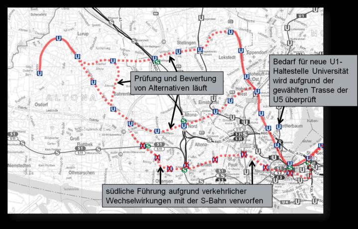 Lage der westlichen U5. (C) Karte: BWVI