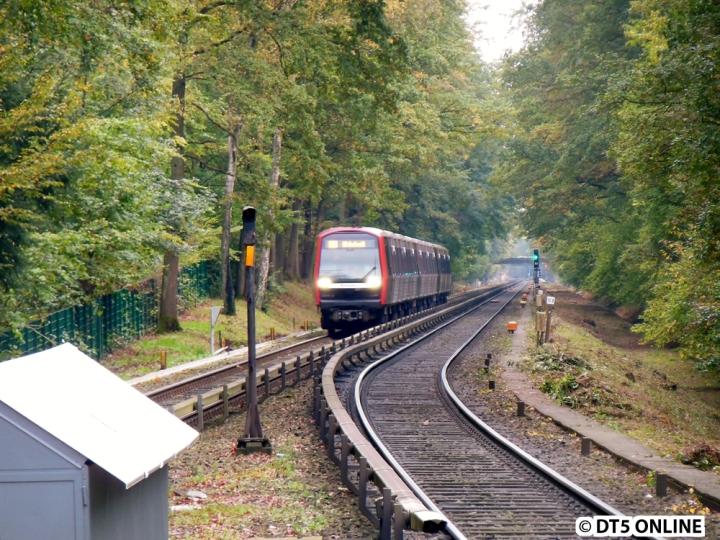 Eine Art von Bewegungsfahrt des DT5 fand am 15. Oktober statt. Dank nerviger Fahrgäste verließ ich die U1 und hatte spontan das Glück, den DT5 309/305/308 vor Meiendorfer Weg anzutreffen. Nach einer kurzen Runde nach Ohlstedt wurde der Zug in Farmsen gegen einen DT3 ausgetauscht.