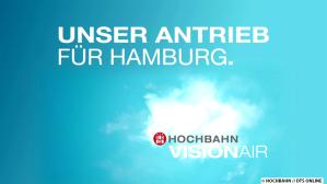 Logo der Kampagne zur Linie 109: Unser Antrieb für Hamburg - HOCHBAHN VisionAir. Das Erkennungszeichen der Innovationslinie 109. Quelle & (C): HOCHBAHN