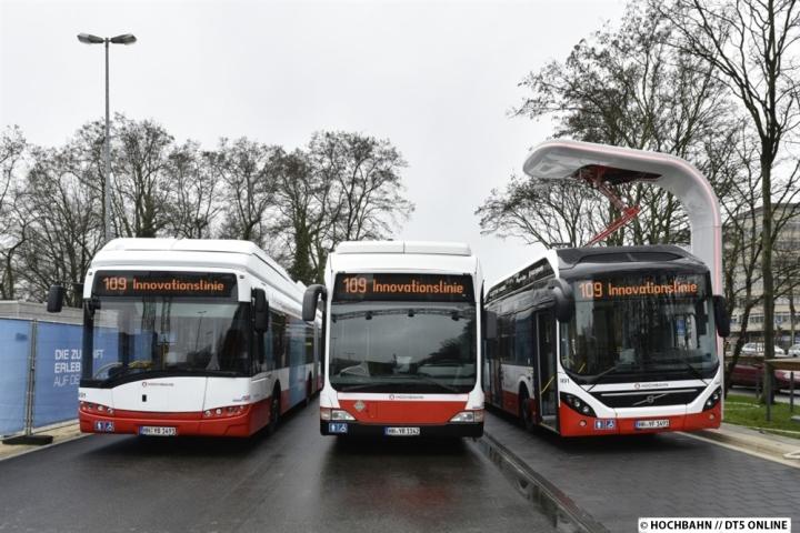 Von links nach rechts: Solaris Urbino Electric (neu!), Citraro-Wasserstoffbus (ex Sauberbus) und Volvo PHEV -  Quelle & (C): HOCHBAHN