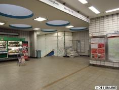 Die Einrüstung auf dem Innenstadt-Bahnsteig reicht bis in die Vorhalle.