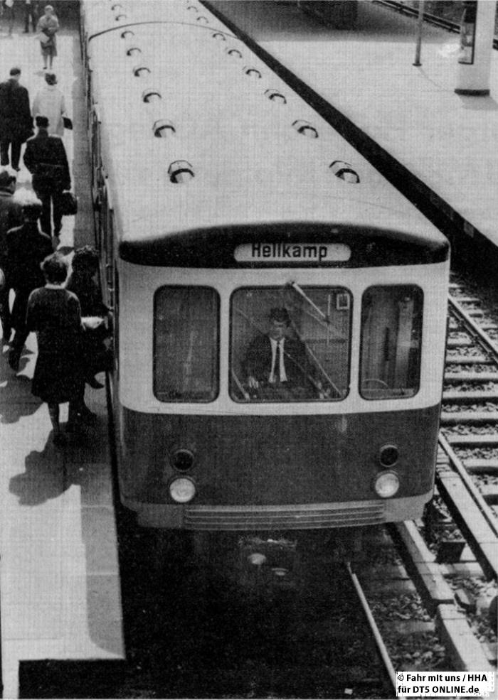 """""""Schon """"historisch"""" - seit dem 1. Mai 1964 fährt kein U-Bahn-Zug mehr nach Hellkamp. Die Haltestelle wird durch einen großzügigen Neubau in der Lutterothstraße ersetzt"""" Foto: HOCHBAHN / Fahr mit uns 2-1964"""