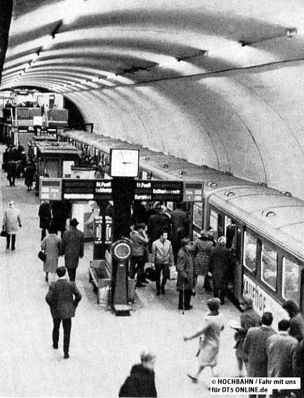Jahrelang fuhren die Züge der U2 und U3 gemeinsam am Hauptbahnhof ab. Foto: Fahr mit uns 1/1969, HOCHBAHN