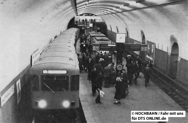 Hauptbahnhof Süd kurz vor Beginn der Umbauarbeiten. Das linke Gleis bleibt erhalten. Foto: Fahr mit uns 2/1972, HOCHBAHN