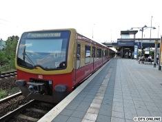 S-Bahnhof Westhafen: Aufgrund von Bauarbeiten fährt dieser Zug nun im Gegengleis bis Beusselstraße, normalerweise gibt es einen durchgehenden Ringverkehr.