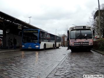 Der historische Schnellbus trifft einen VHH-Gelenkbus