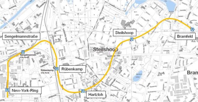 Planungsstand U5-Ost, Dezember 2015. Grafik: HOCHBAHN