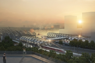 U- und S-Bahnhaltestelle Elbbrücken: Verbindungsbauwerk und Hallendach über der S-Bahnhaltestelle (C) Visualisierung: gmp Architekten