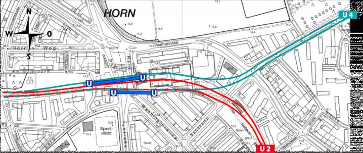 Aktuelle Planung zur Ausfädelung der U4 aus der Bestandsstrecke. Der südliche Seitenbahnsteig müsste neu gebaut werden.