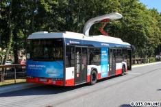 """Kürzlich wurde das Fahrzeug mit der Hochbahn-Eigenwerbung """"VisionAIR"""" beklebt."""