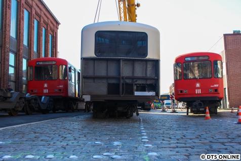 Drei DT3-LZB-Endwagen auf einem Bild: Von links aus sind das die Wagen 924-3 (noch gesamter Zug), 925-1 und 925-3.