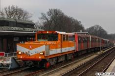 Die DT3 auf dem Anschlussgleis