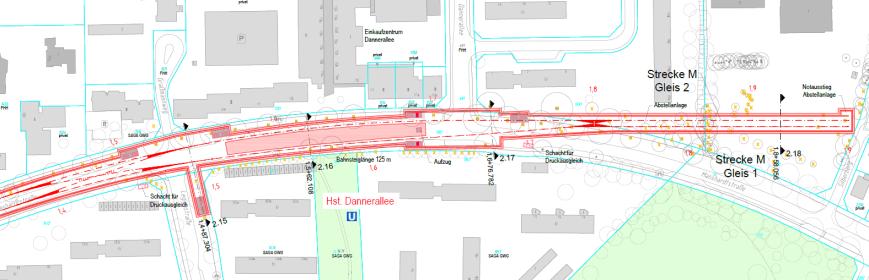 Lageplan Haltestelle Danneralllee inkl. Kehranlage- Grafik: HOCHBAHN / Obermeyer Planen + Beraten