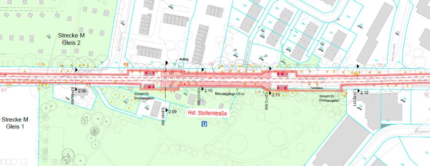 Lageplan Haltestelle Stoltenstraße - Grafik: HOCHBAHN / Obermeyer Planen + Beraten