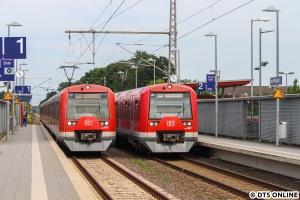 Im Wechselstromabschnitt der S3 fuhren die Züge aufgrund der Umleitung als S31, hier treffen sich 4133 und 4113 in Neu Wulmstorf. Es kam an dem Tag zu diversen Verspätungen.