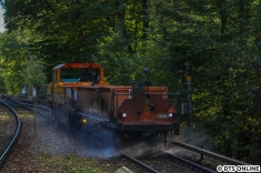 Nach der Ausfahrt des Regelzugs kam die Schienenreinigung, bestehend aus Akkulok und Wasserlore.