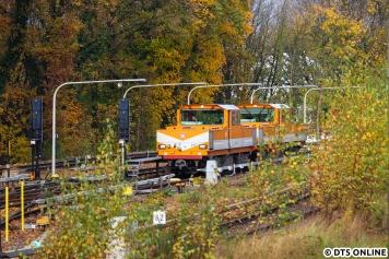 Da die Arbeit rief und der Zug noch einige Zeit in Ohlsdorf stand, blieb als Abschluss nur ein Bild der beiden Akkuloks, welche sich in die herbstliche Umgebung gut einfügten...
