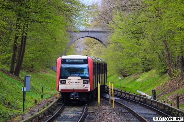 DT3 in den Walddörfern: Am 22. April kam das noch durchaus vor. Während die Bäume gerade grün wurden, erreicht DT3 814 die Haltestelle Schmalenbeck.