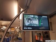 """Nächster Halt ist Alte Wöhr. Vor Erreichen der Haltestelle erfolgt (parallel zur Ansage) die Anzeige """"Ausstieg links""""."""