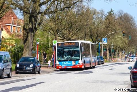 """Mit dem Rad ging es weiter zum U1-SEV, welcher dieses Mal nach """"Langenhorn Mkt"""" und nicht mehr """"Langenh. Markt"""" fuhr."""
