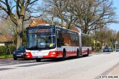 Dieser MAN-Gelenkbus war das neuste, was auf dem U1-SEV lief. Er fuhr auch zur HVZ nur alle 10min. Der in der App als SEV-U1 laufende Express-Bus fuhr häufiger und in der Regel mit 2 Gelenkbussen, dabei waren alle Bushersteller (EvoBus, MAN, Solaris) vertreten.