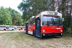 In Schwanheide machte ich einen Rundgang durch die Hallen des HOV. In der Halle war es zu dunkel, daher nur Bilder von den Bussen auf dem Außengelände. Hier steht der ehemalige PVG-Wagen 184. Informationen zu den einzelnen Bussen liefert der HOV auf seiner Website www.hov-bus.de