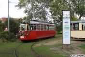 Wagen 3644 war anlässlich des 25-jährigen Jubiläums der Museumsstraßenbahn geschmückt.