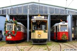 Am Tag der Straßenbahn 2018 beim VVM in Schönberg standen drei Hamburger Straßenbahnen fotogen nebeneinander...