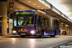 Am 16. Januar fotografierte ich den letzten 64er-Schnellbus am Flughafen auf der 39. Am letzten Betriebstag entstand ein ähnliches Bild vom C2 LE, der diese Werbung erbte.