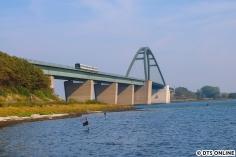 """Danach war es am südlichen Ufer des Fehmarnsund so weit: Das erste Bild des dänischen IC; die MF-Fahrzeuge (auch """"Gumminase"""" genannt) werden ab Dezember nicht mehr hier verkehren."""