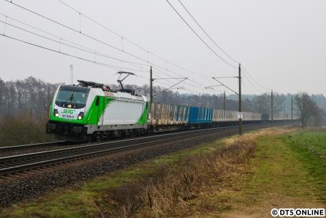 2019 wird das Jahr sein, in dem ich zur großen Eisenbahn fand. Ich hatte anfangs gar nicht wirklich die Ahnung, was nun was ist, aber das hat sich derweil geändert. Am 2. Februar hielt ich diese Lok der BR 187 von SETG in Müssen fest.